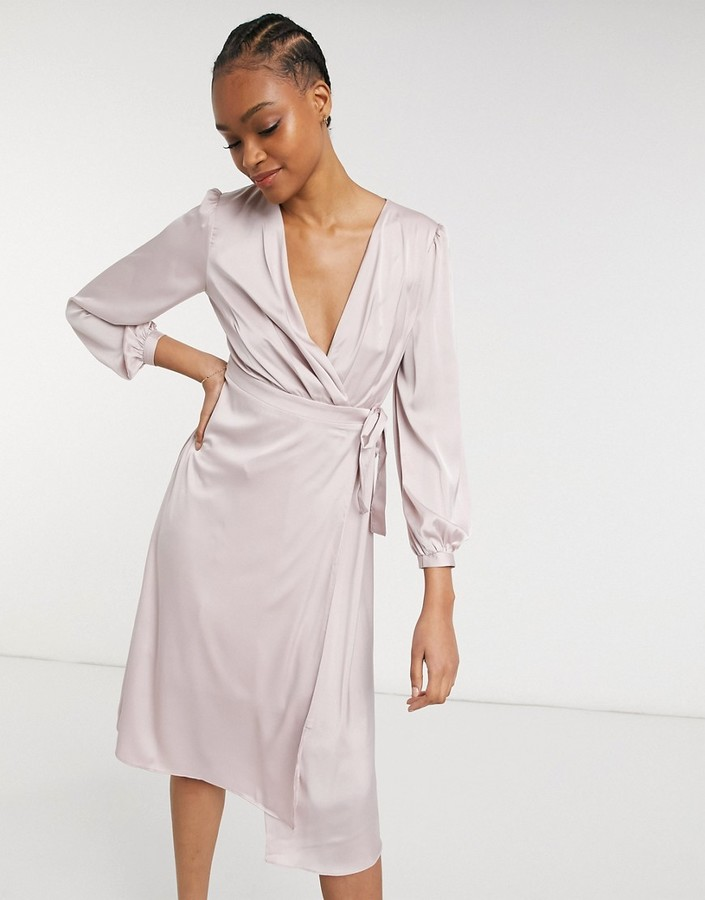 Thumbnail for your product : TFNC bridesmaid satin long sleeve wrap front midi dress in mink