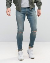 Asos Extreme Super Skinny Jeans With Knee Rips In Mid Wash
