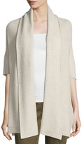 Neiman Marcus Cozy Ribbed Wrapped Cardigan, Light Beige