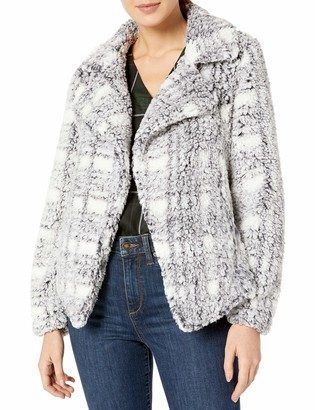 Vince Camuto Women's Teddy Bear Plaid Notched Collar Coat