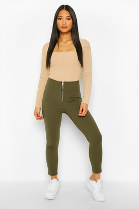boohoo Petite Zip Up Front Slim Leg Trouser