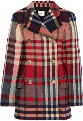 KHAITE Clara Double-breasted Checked Wool And Cashmere-blend Coat
