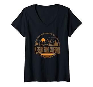Womens Vintage Pleasure Point California Mountain Hiking Print V-Neck T-Shirt