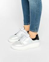 Daisy Street White Irridescent Platform Sneakers