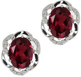 Gem Stone King 2.84 Ct Oval Red Rhodolite Garnet and White Diamond 14k White Gold Earrings