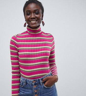Esprit roll neck stripe top in pink-Red