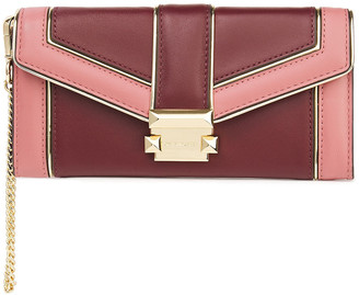 MICHAEL Michael Kors Metallic-trimmed Two-tone Leather Wallet