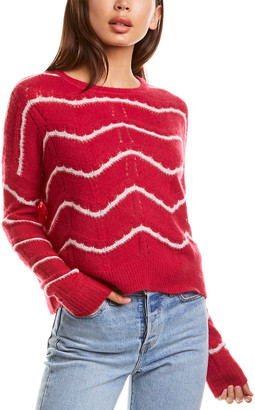 Autumn Cashmere Striped Pointelle Cashmere & Silk-Blend Sweater