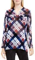 Vince Camuto Two by Womens Chiffon Plaid Pullover Top