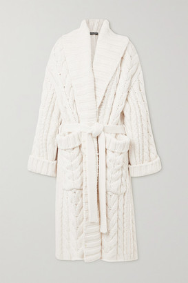 Dolce & Gabbana Oversized Belted Cable-knit Wool And Cashmere-blend Cardigan - White