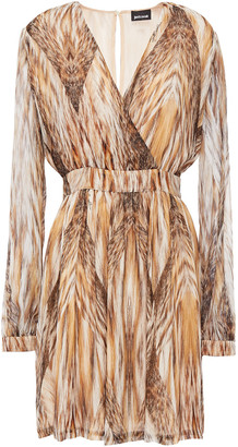 Just Cavalli Wrap-effect Printed Georgette Mini Dress