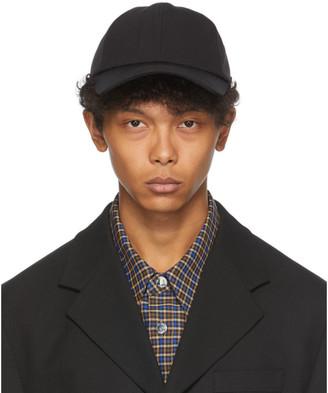 Solid Homme Black Nylon Six-Panel Cap