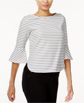 Bar III Striped Bell-Sleeve Top, Only at Macy's