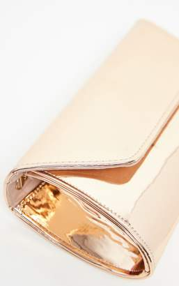 PrettyLittleThing Rose Gold High Shine PU Medium Clutch Bag
