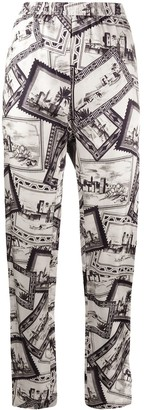 Joseph Post Card-Print Straight-Leg Trousers