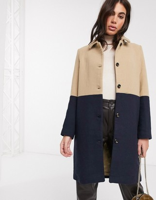 Ichi panelled longline coat in camel and navy