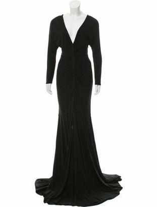 Carmen Marc Valvo V-Neck Long Dress Black
