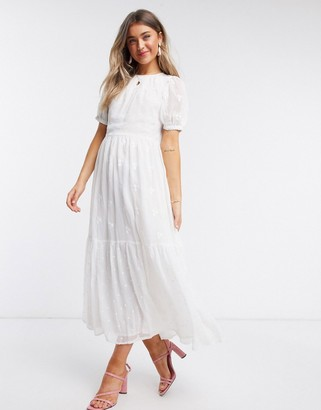 ASOS DESIGN mixed embroidery tiered maxi dress with open back in white