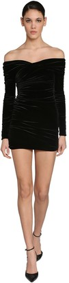 Alexandre Vauthier Off Shoulder Stretch Velvet Mini Dress