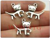 Nobrand No brand 8pcs 19*18mm antique silver cat charms