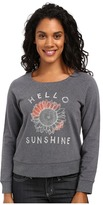 Life is Good Hello Sunshine Sunflower Marled Terry Crew