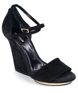 Roberto Cavalli Womens Black Suede Ankle Strap Platform Sandals.