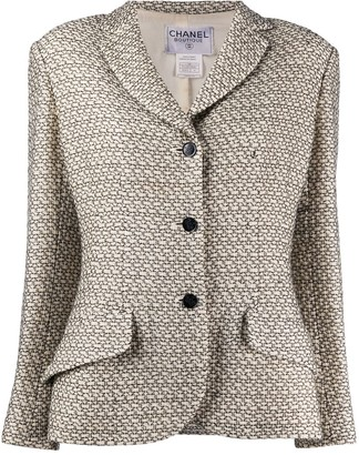 Chanel Pre Owned Geometric Pattern Woven Jacket
