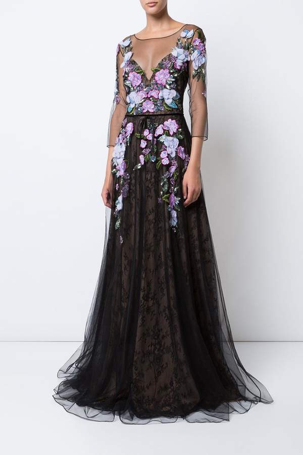 Marchesa Floral Tulle Gown