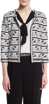 St. John Elia Geometric-Knit 3/4-Sleeve Jacket, Caviar/Bianco