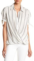 BLANKNYC Denim Me & You Striped Surplice Blouse