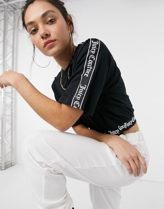 Juicy Couture boxy crop logo tape t-shirt in black