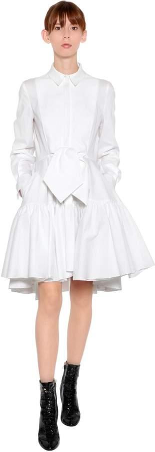 Antonio Berardi Cotton Poplin Shirt Dress W/ Knot Detail