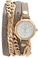 La Mer Women's Leather & Chain Wrap Watch, 35Mm