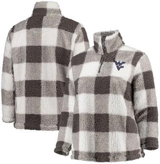 Women's Gray/Cream West Virginia Mountaineers Plus Size Plaid Sherpa Quarter-Zip Pullover Jacket
