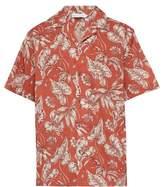 Desmond & Dempsey - Foliage Print Cotton Poplin Pyjama Shirt - Mens - Red