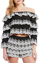 Gianni Bini Kara Embroidered Tiered Off-the-Shoulder Top