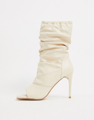 Simmi Shoes Simmi London Killy ruched stiletto-heeled boots with open toe in white