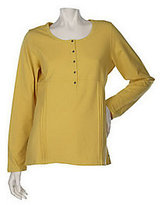 Denim & Co. As Is Stretch Long Sleeve T-shirt with Pleat Detail