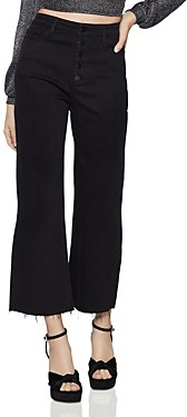 BCBGeneration Raw-Edge Cropped Wide-Leg Jeans in Jet Black