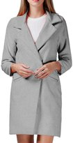 Moonpin Women's Simple Suit Collar Plain Woolen Trenchcoat Outwear M
