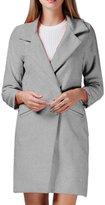 Moonpin Women's Simple Suit Collar Plain Woolen Trenchcoat Outwear S
