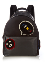 Fendi Faces shearling-appliqué leather backpack