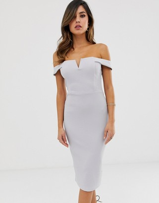 AX Paris bardot bodycon dress-Silver