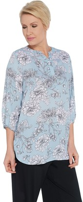 Dennis Basso Printed Woven Split Neck 3/4-Sleeve Tunic