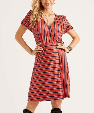 Suzanne Betro Dresses Women's Casual Dresses 101RUST/NAVY/IVORY - Rust & Navy Stripe Side-Tie Wrap Dress - Women & Plus