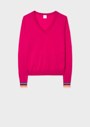 Paul Smith Women's Raspberry V-Neck Wool Sweater With 'Artist Stripe' Cuffs