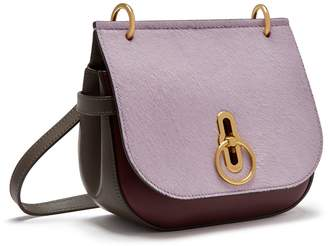 Mulberry Small Amberley Satchel Lilac, Dark Clay and Burgundy Silky Calf and Haircalf