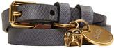 Alexander McQueen Blue & Gold Snakeskin Double Wrap Skull Bracelet