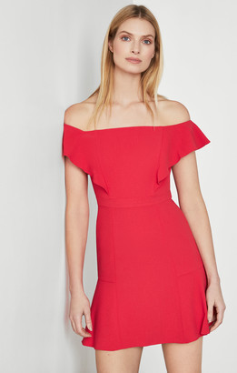 BCBGMAXAZRIA Off-The-Shoulder Flounced Dress