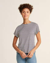 Vince Striped Short Sleeve Silk-Blend Crew Neck Tee
